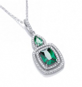 "J-Jaz Micro Pave' Fancy Pendant Green Cz with 18"" Chain"
